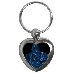 Warrior   Blue Key Chains (heart)  by Valentinaart