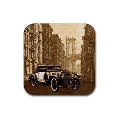 Vintage Old Car Rubber Square Coaster (4 Pack)  by Valentinaart