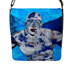Swimming Angel Flap Messenger Bag (l)  by Valentinaart
