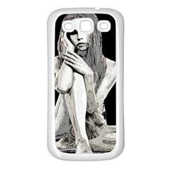 Stone Girl Samsung Galaxy S3 Back Case (white) by Valentinaart