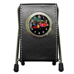 Hippie Van  Pen Holder Desk Clocks by Valentinaart