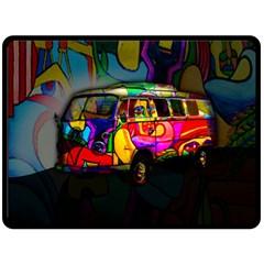 Hippie Van  Fleece Blanket (large)  by Valentinaart