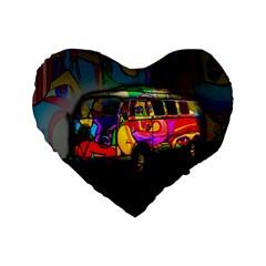 Hippie Van  Standard 16  Premium Flano Heart Shape Cushions by Valentinaart