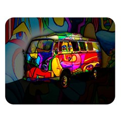 Hippie Van  Double Sided Flano Blanket (large)  by Valentinaart