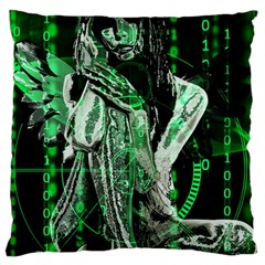 Cyber Angel Large Cushion Case (two Sides) by Valentinaart