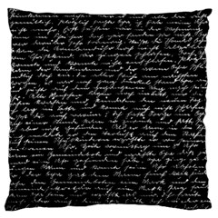 Handwriting  Large Flano Cushion Case (one Side) by Valentinaart