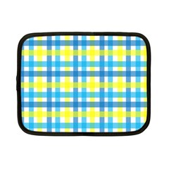 Gingham Plaid Yellow Aqua Blue Netbook Case (small)  by Simbadda