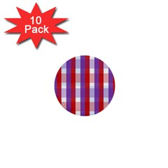 Gingham Pattern Checkered Violet 1  Mini Buttons (10 Pack)  by Simbadda