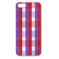 Gingham Pattern Checkered Violet Apple Seamless Iphone 5 Case (clear) by Simbadda