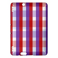 Gingham Pattern Checkered Violet Kindle Fire HDX Hardshell Case by Simbadda