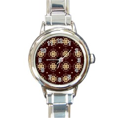 Seamless Ornament Symmetry Lines Round Italian Charm Watch by Simbadda