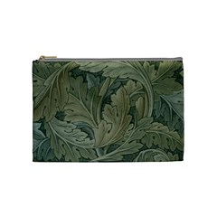 Vintage Background Green Leaves Cosmetic Bag (medium)  by Simbadda