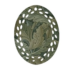 Vintage Background Green Leaves Ornament (oval Filigree) by Simbadda