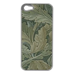 Vintage Background Green Leaves Apple Iphone 5 Case (silver) by Simbadda
