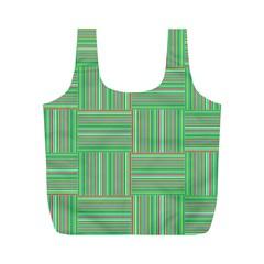 Geometric Pinstripes Shapes Hues Full Print Recycle Bags (m)  by Simbadda