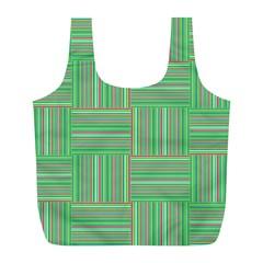 Geometric Pinstripes Shapes Hues Full Print Recycle Bags (l)  by Simbadda