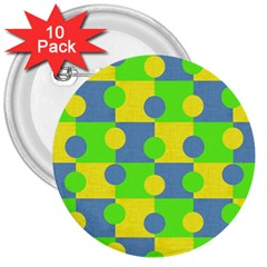 Abric Cotton Bright Blue Lime 3  Buttons (10 Pack)  by Simbadda
