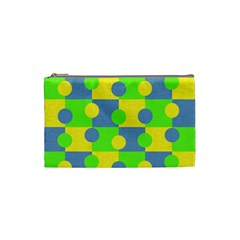 Abric Cotton Bright Blue Lime Cosmetic Bag (small)  by Simbadda