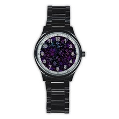 Retro Flower Pattern Design Batik Stainless Steel Round Watch by Simbadda