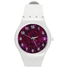 Retro Flower Pattern Design Batik Round Plastic Sport Watch (m) by Simbadda