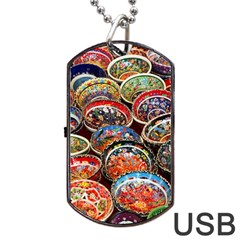 Art Background Bowl Ceramic Color Dog Tag Usb Flash (two Sides)
