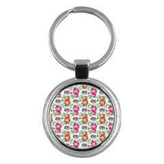 Floral Flower Pattern Seamless Key Chains (round)  by Simbadda