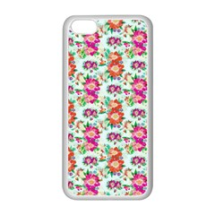 Floral Flower Pattern Seamless Apple Iphone 5c Seamless Case (white) by Simbadda