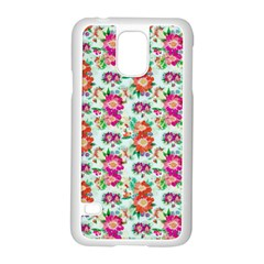 Floral Flower Pattern Seamless Samsung Galaxy S5 Case (White) by Simbadda