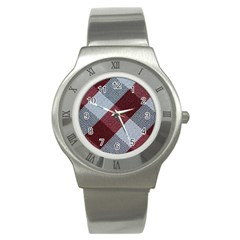 Textile Geometric Retro Pattern Stainless Steel Watch by Simbadda