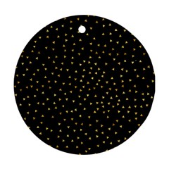 Grunge Retro Pattern Black Triangles Round Ornament (two Sides) by Simbadda