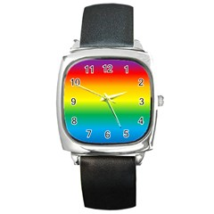 Rainbow Background Colourful Square Metal Watch by Simbadda