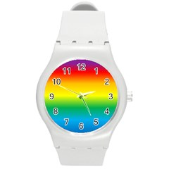 Rainbow Background Colourful Round Plastic Sport Watch (m) by Simbadda