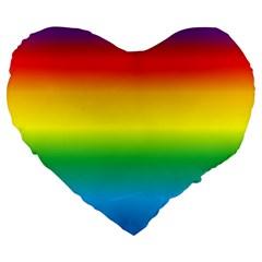 Rainbow Background Colourful Large 19  Premium Heart Shape Cushions by Simbadda