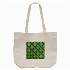 St Patrick S Day Damask Vintage Green Background Pattern Tote Bag (cream) by Simbadda