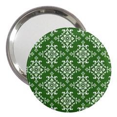 St Patrick S Day Damask Vintage Green Background Pattern 3  Handbag Mirrors by Simbadda