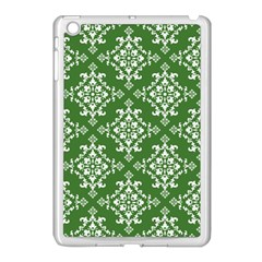 St Patrick S Day Damask Vintage Green Background Pattern Apple Ipad Mini Case (white) by Simbadda