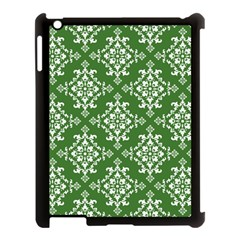 St Patrick S Day Damask Vintage Green Background Pattern Apple Ipad 3/4 Case (black) by Simbadda