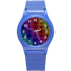 Rainbow Grid Form Abstract Round Plastic Sport Watch (s) by Simbadda