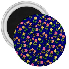 Flowers Roses Floral Flowery Blue Background 3  Magnets