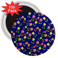 Flowers Roses Floral Flowery Blue Background 3  Magnets (100 Pack) by Simbadda