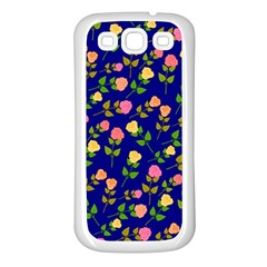 Flowers Roses Floral Flowery Blue Background Samsung Galaxy S3 Back Case (white) by Simbadda