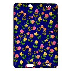 Flowers Roses Floral Flowery Blue Background Amazon Kindle Fire Hd (2013) Hardshell Case by Simbadda