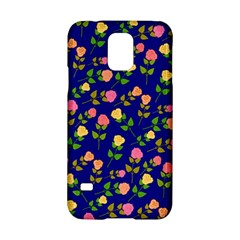 Flowers Roses Floral Flowery Blue Background Samsung Galaxy S5 Hardshell Case  by Simbadda