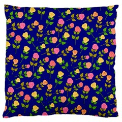 Flowers Roses Floral Flowery Blue Background Standard Flano Cushion Case (Two Sides) by Simbadda