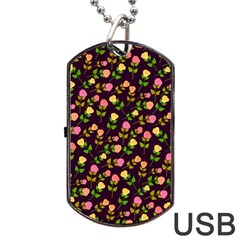 Flowers Roses Floral Flowery Dog Tag Usb Flash (two Sides) by Simbadda
