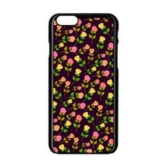 Flowers Roses Floral Flowery Apple iPhone 6/6S Black Enamel Case by Simbadda
