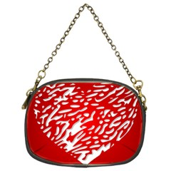 Heart Design Love Red Chain Purses (two Sides)  by Simbadda