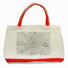Flower Rose Flowering Sunflower Black Classic Tote Bag (red) by Alisyart
