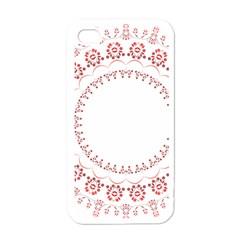 Floral Frame Pink Red Star Leaf Flower Apple Iphone 4 Case (white) by Alisyart