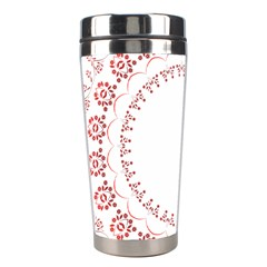 Floral Frame Pink Red Star Leaf Flower Stainless Steel Travel Tumblers by Alisyart
